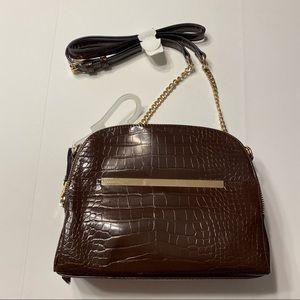 NWT Faux Leather Brown Croc Shoulder Bag Purse